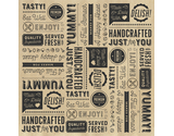"12"" x 12"" Grease-Resistant Food-Safe Sandwich Wrap Paper / Deli Wrap Paper / Generic Typography Theme on Brown Paper with Black Ink"