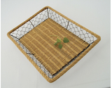 "16.5"" x 11.75"" Rattan and Wire Basket"