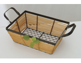 "10"" x 7.5"" Rattan and Wire Basket"